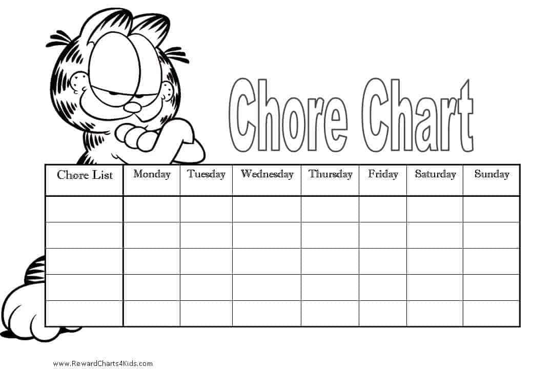 Chore Chart With Garfield