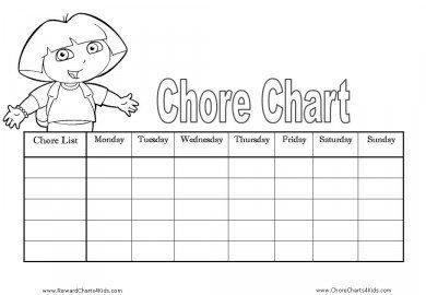 Dora Chore Chart Template
