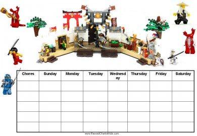 Ninjago chore chart template