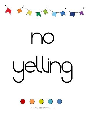 no yelling printable