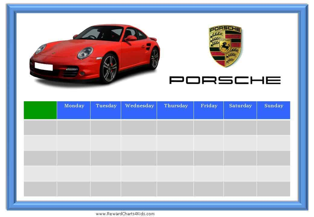 Racing Car Sticker Charts