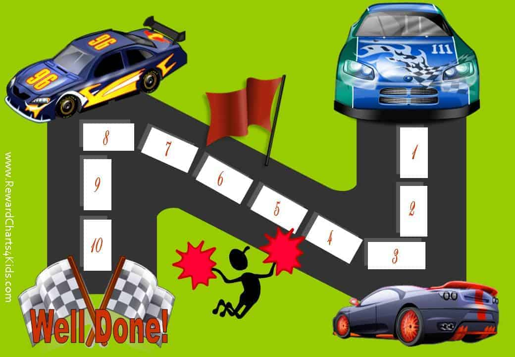 Sticker Chart with 10 steps and 3 racing cars racing to the finishing line where it says