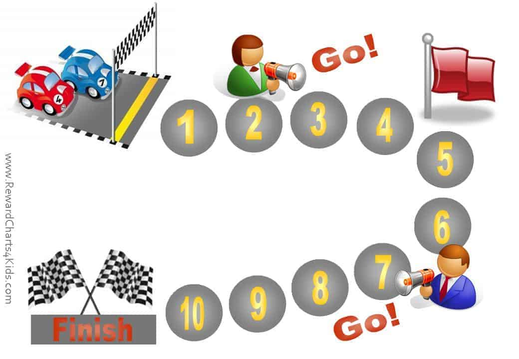 photo about Race Track Printable known as Racing Auto Sticker Charts