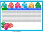 Easter sticker chart from Monday to Sunday