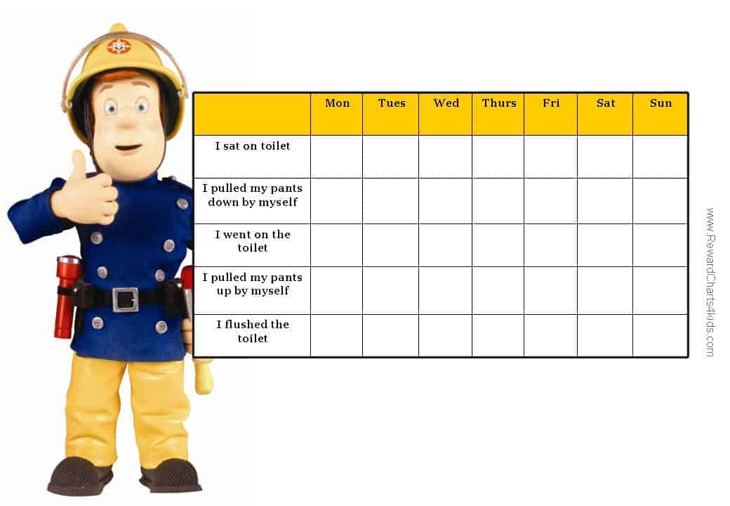 toilet training chart with a list of milestones
