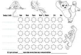 Kung Fu Panda colouring behaviour chart