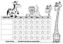 behavior chart with pictures of 4 animals
