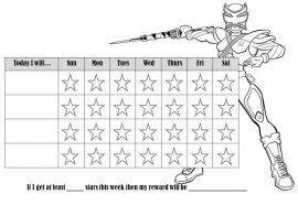 Power Rangers coloring behavior chart