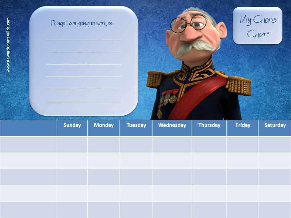 Frozen Chore Chart Customize