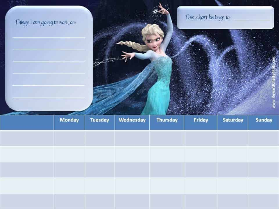 Chore Chart With List Frozen Customize