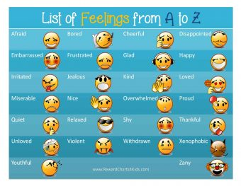 list of feelings from a to z