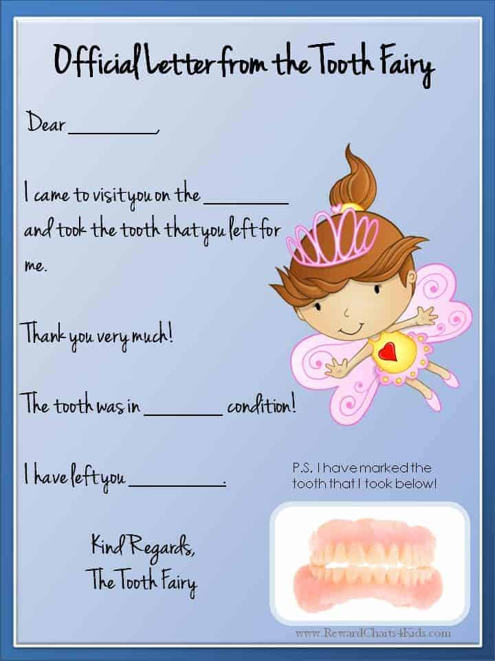 Tooth fairy letter free printable for Free printable tooth fairy certificate template