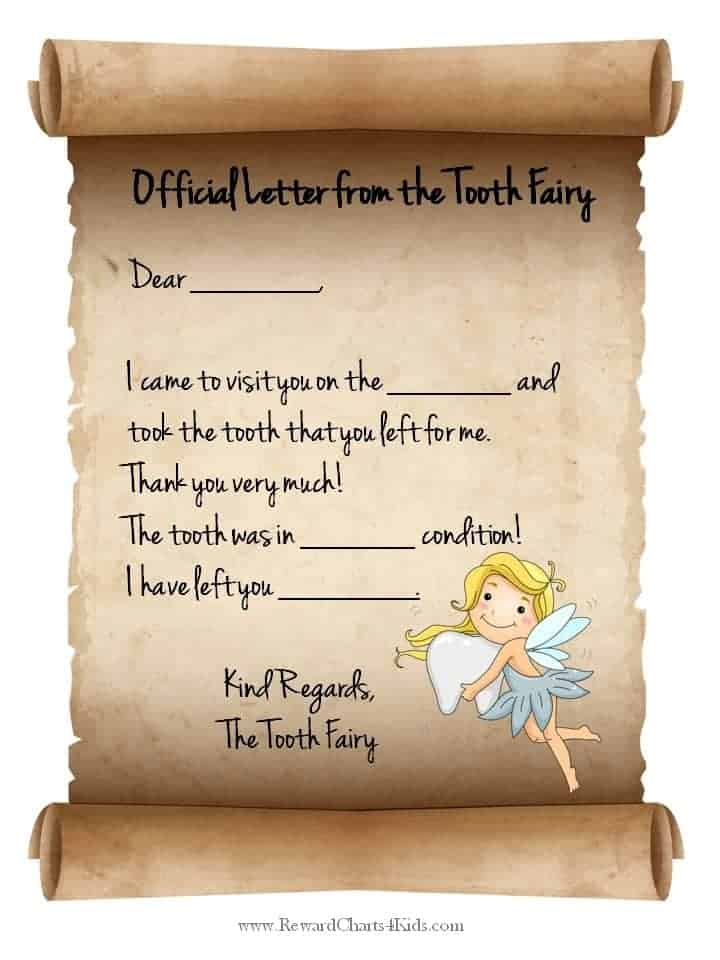 Note From Tooth Fairy Template