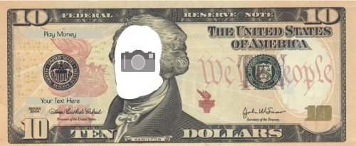 Printable 10 dollar bill with photo