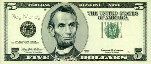 Printable 5 dollar bill