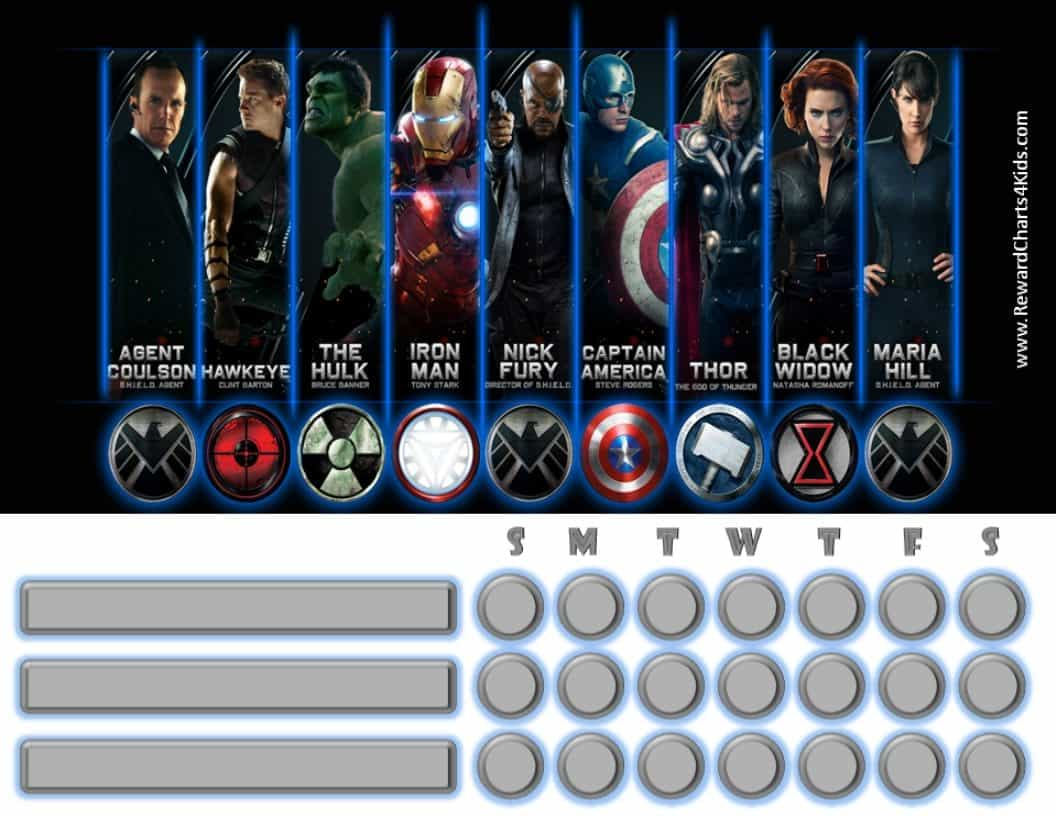 Marvel Avengers Charts | Customizable & Printable | Free!