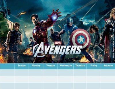 Marvel Avengers chore chart