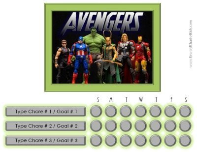 Chore chart template with Avengers