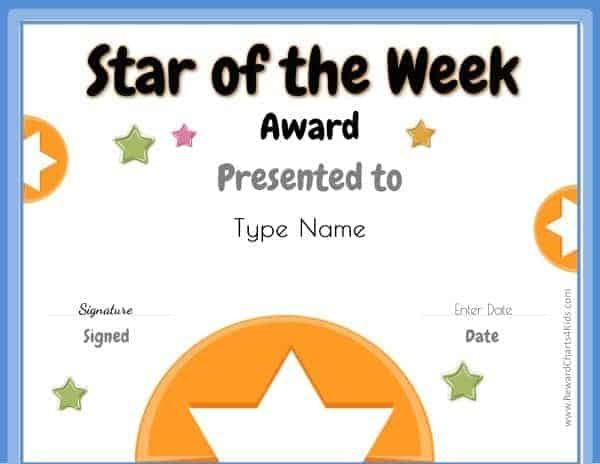 Star of the week printables customize with your photo for Student of the week certificate template free