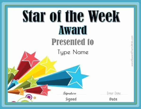 photograph regarding Printable Awards for Students called Star of the 7 days Printables Customise with your Photograph and