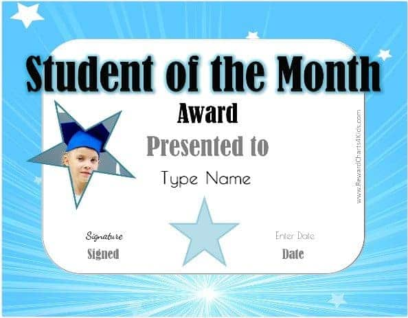 ... Student Of The Month Template
