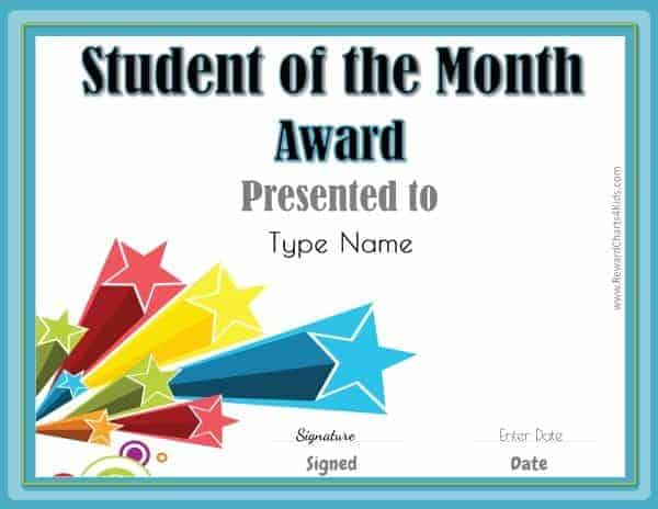 free student of the month certificate customize with your photo