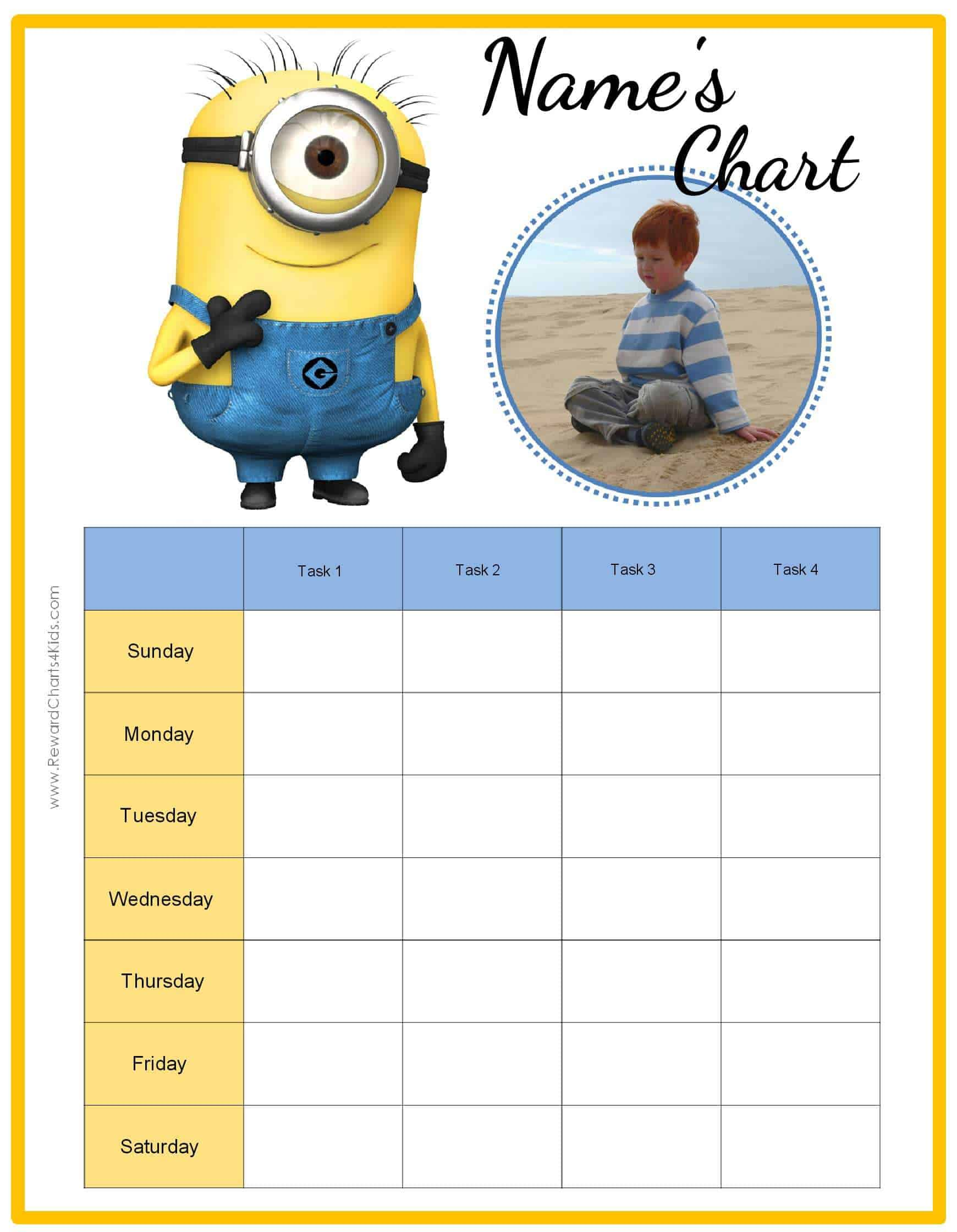 free behavior charts with the minions add your own photo. Black Bedroom Furniture Sets. Home Design Ideas