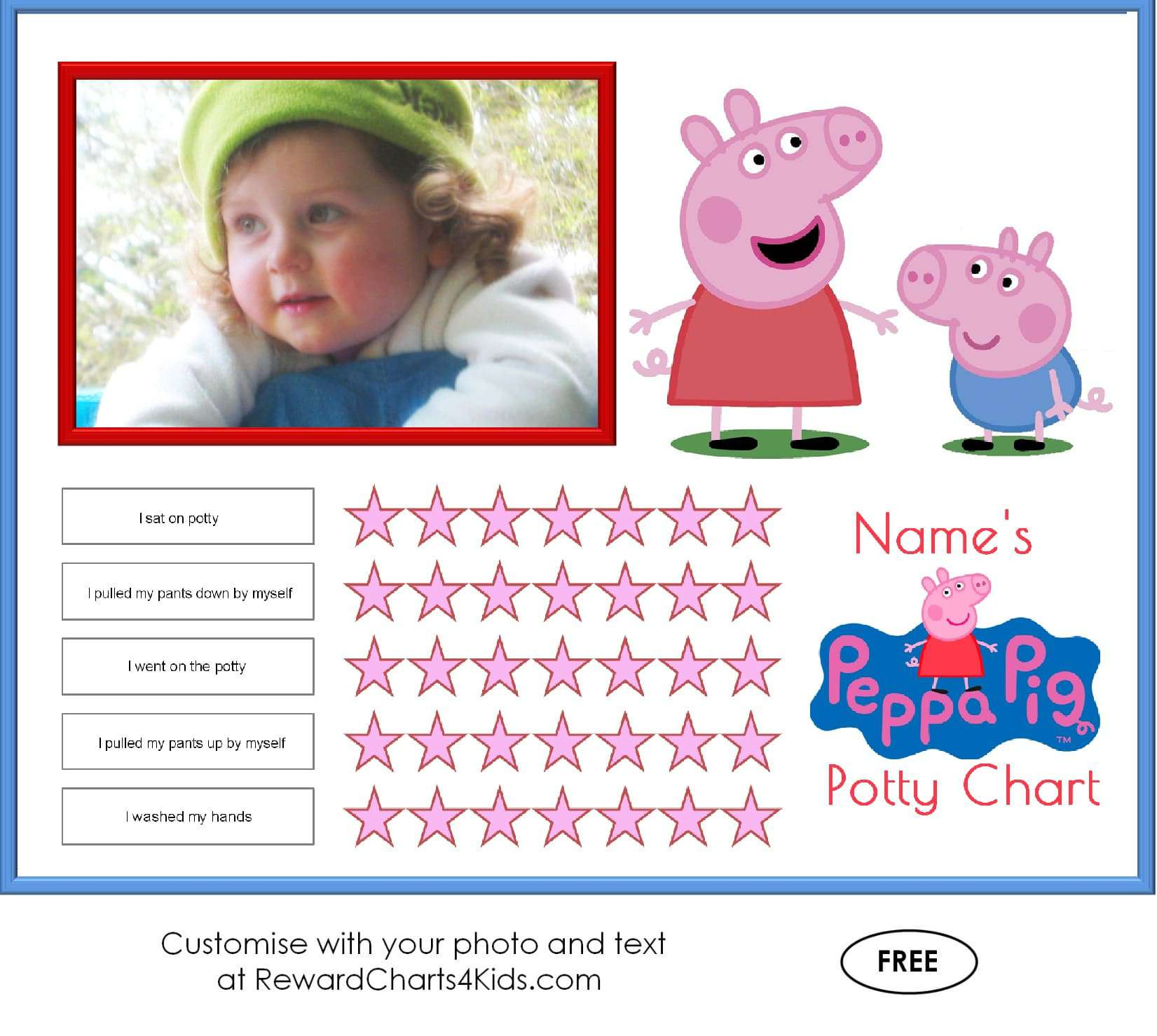 Free Peppa Pig Potty Training Charts | Customize with Your Photo
