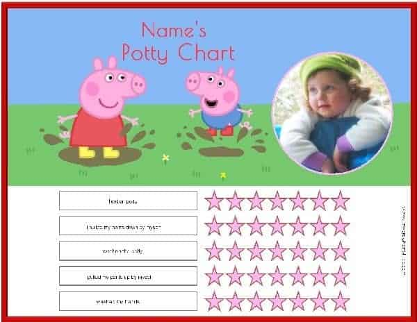 free peppa pig potty training charts