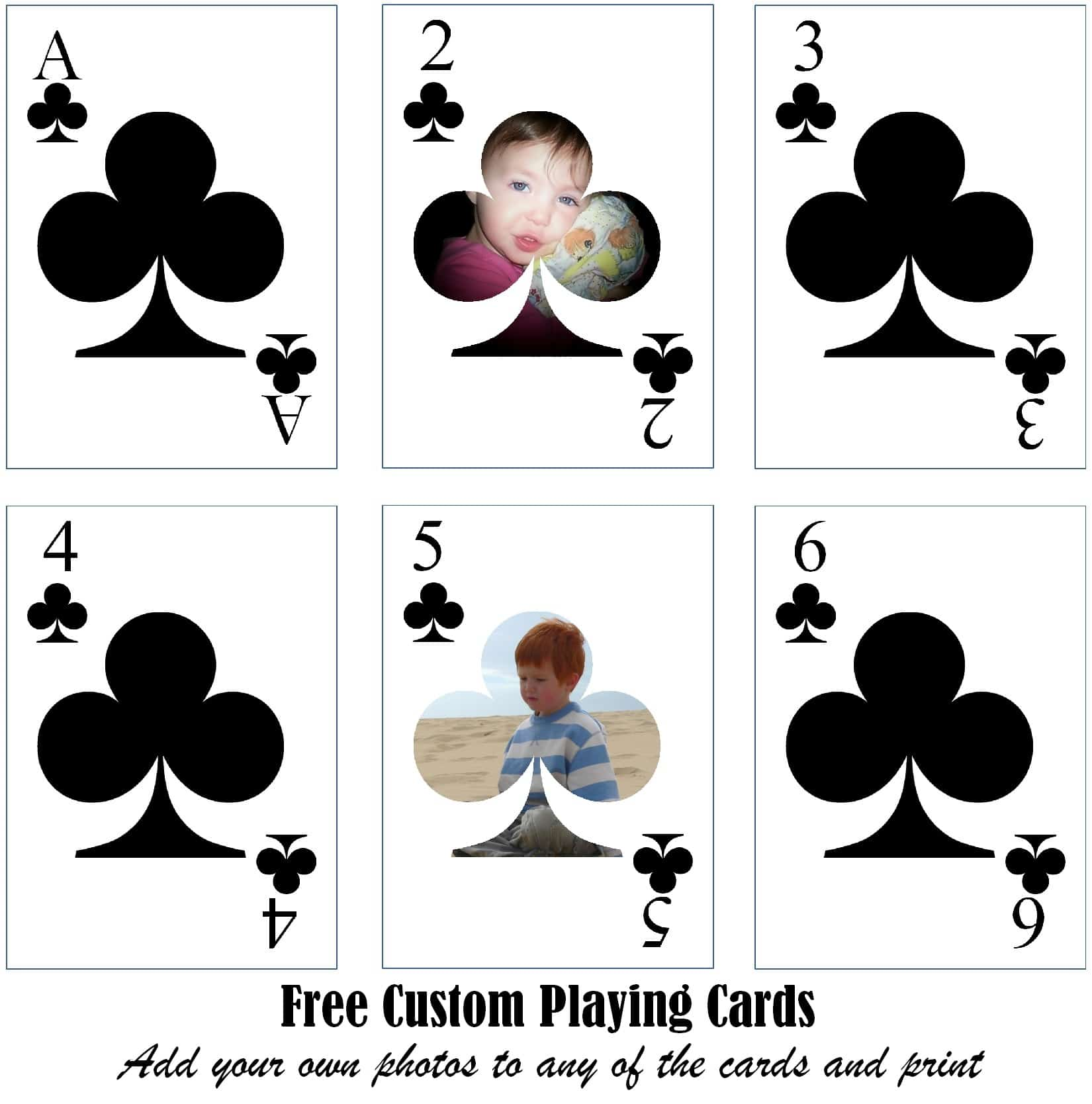 Free Printable Custom Playing Cards  Add Your Photo and/or Text For Deck Of Cards Template