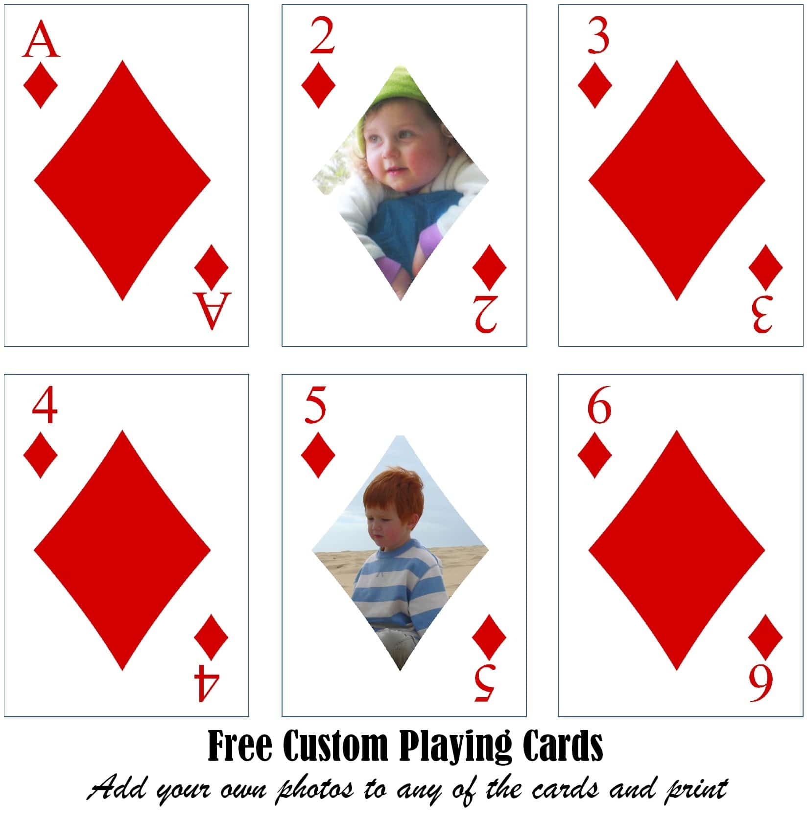 photo relating to Playing Card Printable named Absolutely free Printable Custom made Taking part in Playing cards Insert Your Photograph and/or Words and phrases