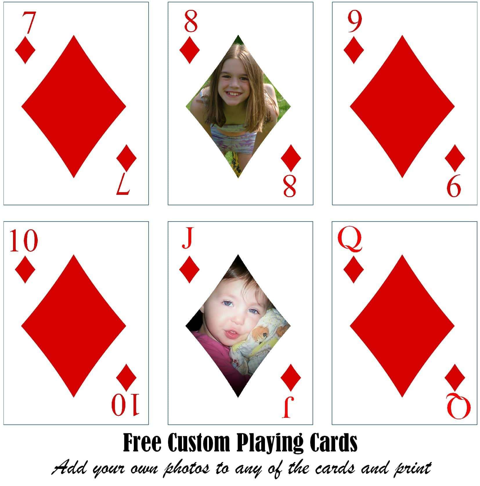 Free Printable Custom Playing Cards  Add Your Photo and/or Text Intended For Card Game Template Maker