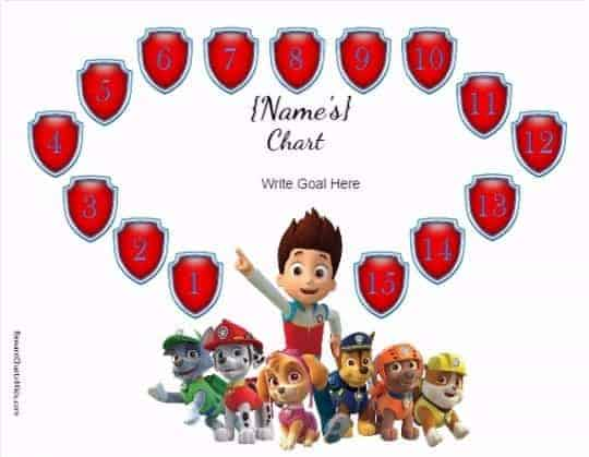 free customizable paw patrol charts
