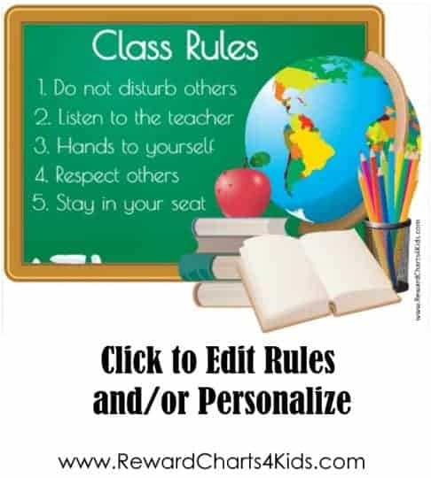 class room rules with an atlas and an apple and some books