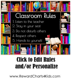 class rules on chalkboard with a bookshelf border