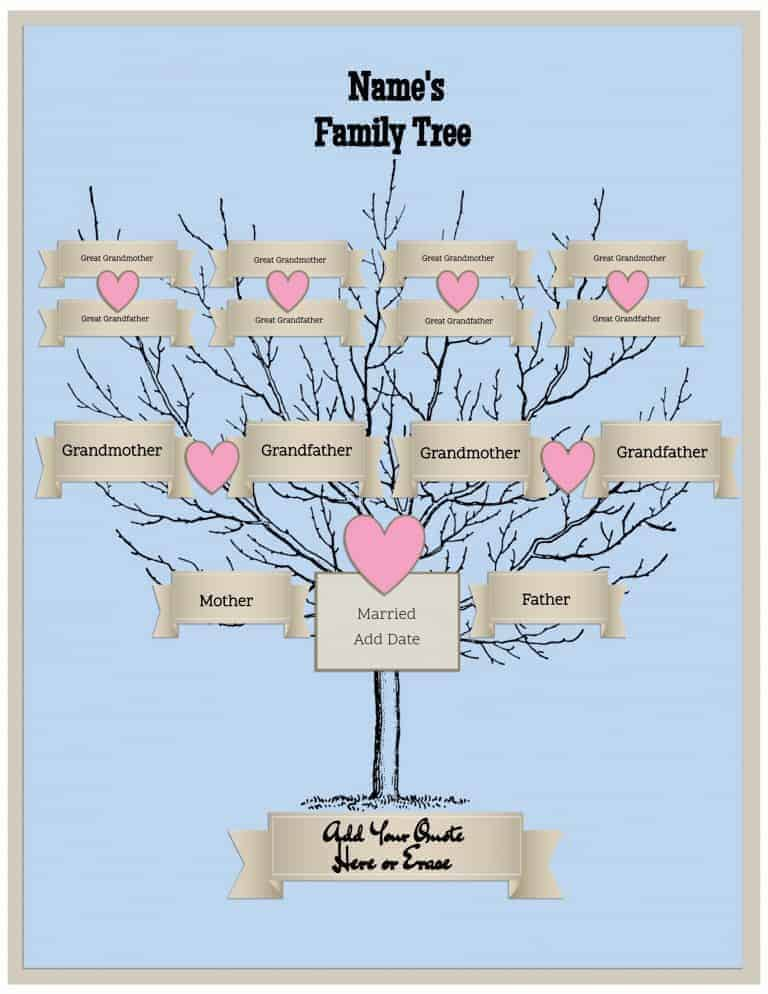 Free family tree template customize online then print for Genealogy templates for family trees