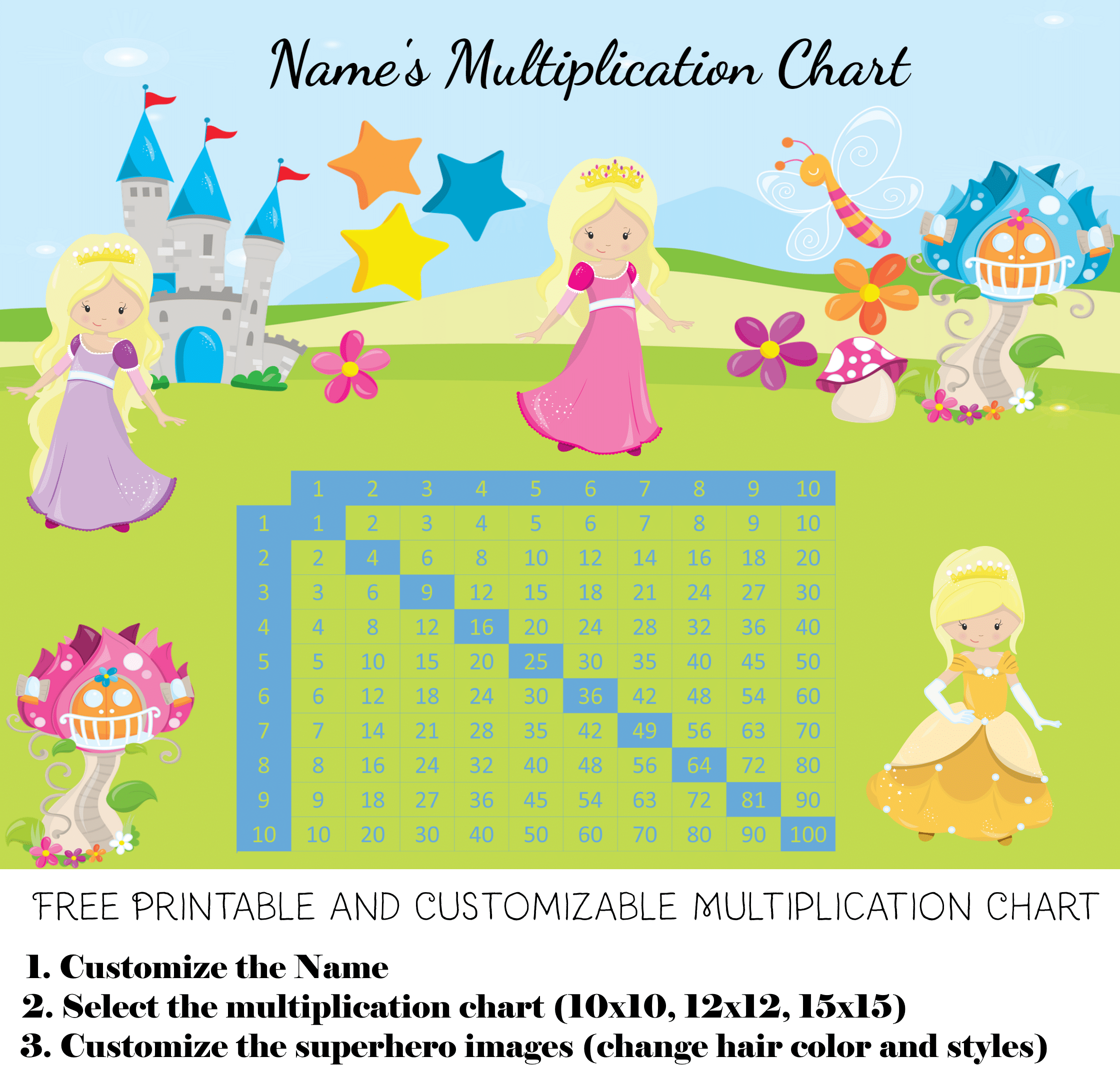 Free custom multiplication chart printable blond princesses nvjuhfo Images