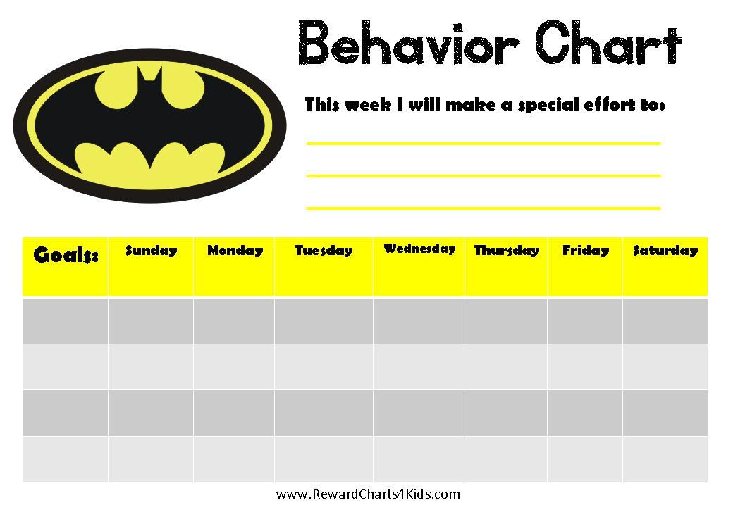 behavior charts for preschoolers template - batman behavior charts