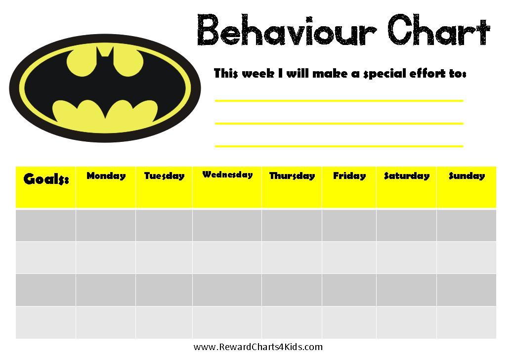 Weekly Behavior Chart With Batman